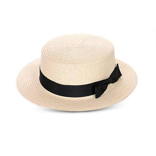 Универсальные Винтаж На каждый день Панама Соломенная шляпа Солома,Однотонный Лето Бежевый Хаки