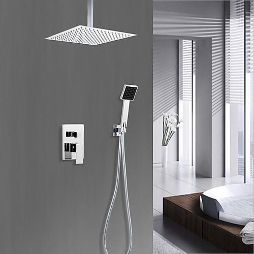 Смеситель для душа - Деревенский Хром Душевая система Керамический клапан Bath Shower Mixer Taps / Латунь / Одной ручкой четыре отверстия