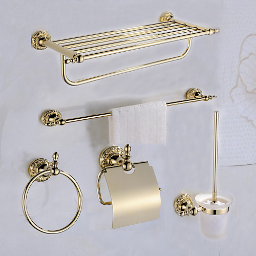 Набор аксессуаров для ванной Античный Латунь 5 шт. - Гостиничная ванна Держатели для туалетной бумаги / распорка / кольцо башни