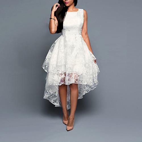 Жен. Большие размеры На выход Оболочка Платье - Однотонный Ассиметричное Белый / Лето / Свободный силуэт