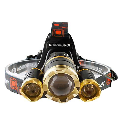 Налобные фонари Налобный фонарь Светодиодная лампа 4800 lumens lm 4.0 Режим Cree T6 Фокусировка Ударопрочный Перезаряжаемый