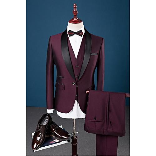 Купить со скидкой Burgund Solide Schlanke Passform Baumwolle / Polyester / Elasthan Anzug - Schalrevers Einreiher - 1