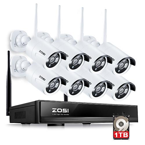 zosi8ch 960P NVR 8шт 1.3MP WiFi IP-камеры водонепроницаемый домашней безопасности комплект видеонаблюдения с 1TB от Lightinthebox.com INT