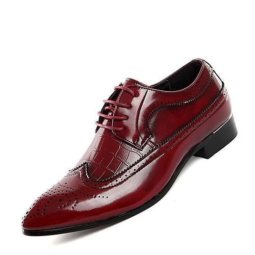 Муж. Обувь Bullock Кожа Весна / Лето Туфли на шнуровке Черный / Красный / Синий / Комфортная обувь