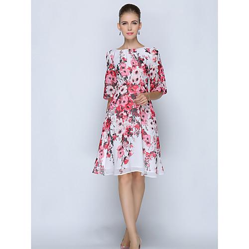 Жен. Большие размеры Офис Изысканный Прямое Платье - Цветочный принт До колена, Белый