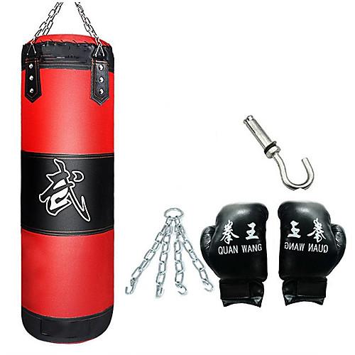Боксерская груша принуждать 1 вешалка Боксерские перчатки Съемный цепной ремень Регулируется Прочный Незаполненные Для Тхэквондо Бокс Каратэ Боевые искусства Муай Тай Силовая тренировка 4 pcs Красный