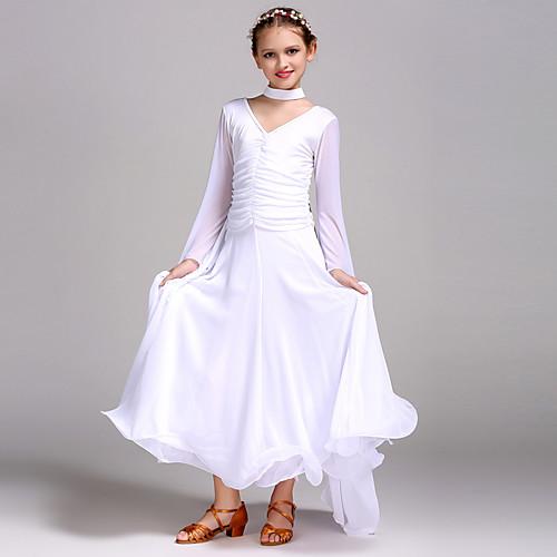 Бальные танцы Платья Учебный Тюль Вискоза Длинный рукав, Белый