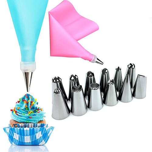 14pcs Нержавеющая сталь Свадьба День рождения День Святого Валентина Для торта Инструменты для выпечки Инструменты для выпечки