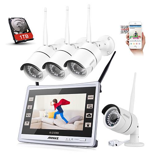 Sannce 4ch cctv nvr беспроводной 1080p защищенный от непогоды ip-камера система безопасности с дистанционным предупреждением с 1tb hdd от Lightinthebox.com INT