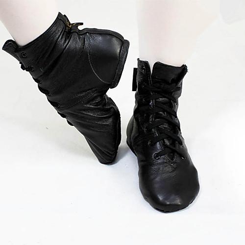 Жен. Танцевальная обувь Синтетика Обувь для джаза На плоской подошве / Ботинки На плоской подошве Персонализируемая Черный / Тренировочные / EU39 фото