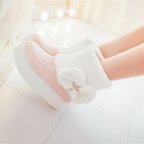 Для женщин Обувь Полиуретан Весна Удобная обувь Ботинки На танкетке Назначение Повседневные Белый Бежевый Розовый