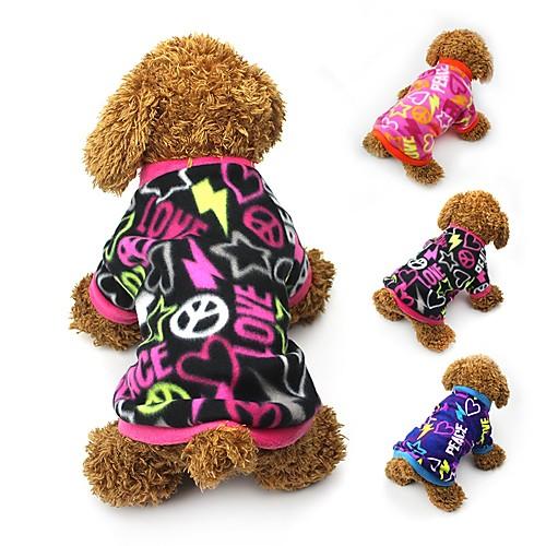 Кошка Собака Плащи Футболка Толстовка Зима Одежда для собак Черный Пурпурный Синий Костюм Флис С сердцем Для вечеринки На каждый день Сохраняет тепло XS S M L фото