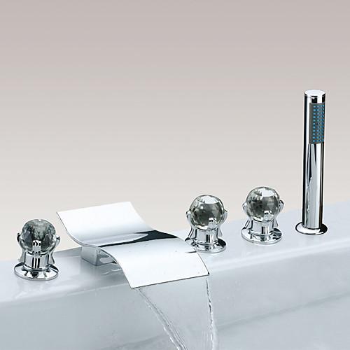 Смеситель для ванны - Современный Хром Разбросанная Медный клапан Bath Shower Mixer Taps / Латунь / Три ручки пять отверстий
