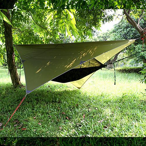 Кемпинговый гамак с противомоскитной сеткой Защита гамака от дождя На открытом воздухе Водонепроницаемость Защита от солнечных лучей Защита от комаров Парашют Нейлон с карабинами и ремнями для 2 фото