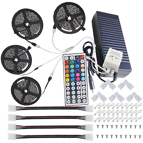 Светодиодные полосы света KWB водонепроницаемые 20м (4 5м) 5050 Светодиодные полосы 10мм RGB 600 с комплектом пульта дистанционного управления 44key и блоком питания 12v 10a eu / us / au / uk фото