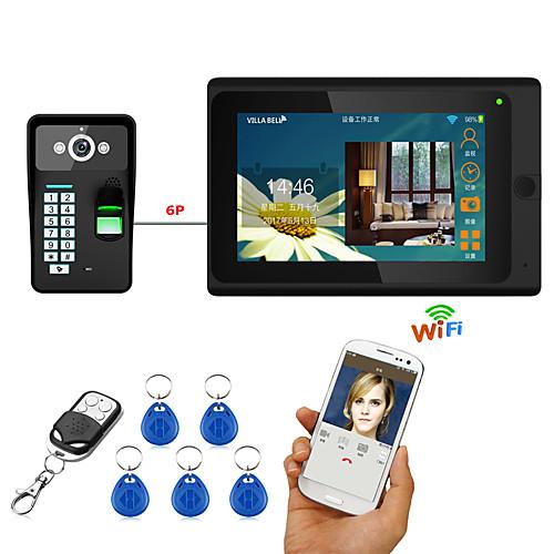 7inch проводной / беспроводной wifi отпечаток пальца rfid пароль видео домофон домофон домофон система upport удаленное приложение