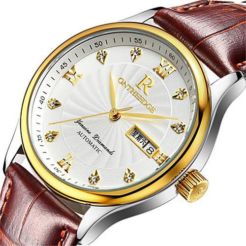 Men's Wrist Watch Quartz Leather Black / Brown 30 m Water Resistant / Waterproof Calendar / date / day Analog Fashion Elegant - Silvery / White Gold / White Black / Silver, lightinthebox  - buy with discount