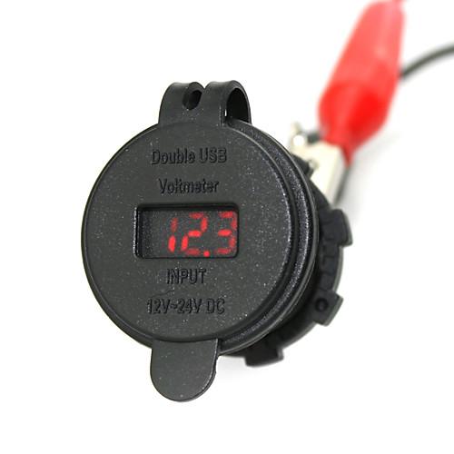 iztoss 2.1a& 2.1a водонепроницаемый двойной USB зарядное устройство телефона зарядное гнездо питания с вольтметром красным светом от Lightinthebox.com INT