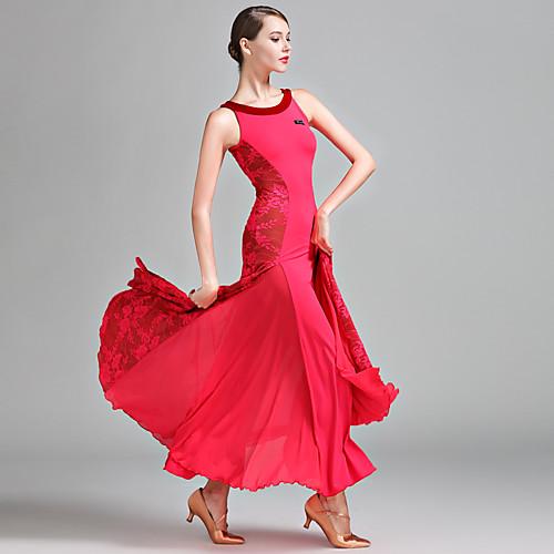 Бальные танцы Жен. Выступление Кружева Молочное волокно Кружева Без рукавов Средняя талия Платье, Розовый с красным
