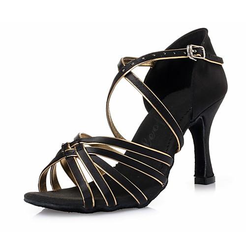Жен. Обувь для латины Шёлк На каблуках Ленты На шпильке Танцевальная обувь Черный и золотой / В помещении / Кожа