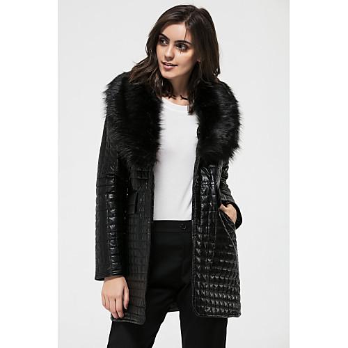 Женский Большие размеры / На выход Однотонный Пальто с мехом V-образный вырез,Винтаж / Панк & Готика Зима Черный Длинный рукав,