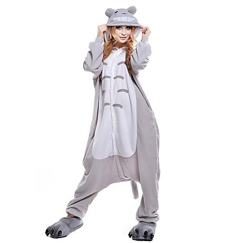 Взрослые Пижамы кигуруми Кошка Тоторо Цельные пижамы Коралловый флис Серый  Косплей Для Муж. и жен 0d8dc8ecd0a12