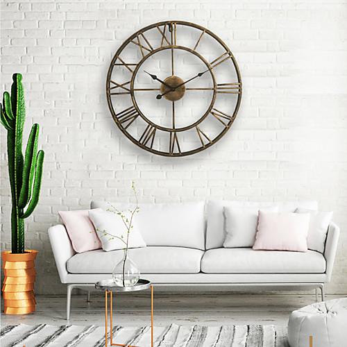 Настенные часы, 20 '' круглый центурианский классический металлический кованое железо римская цифра стиль домашнего декора аналоговые металлические часы фото
