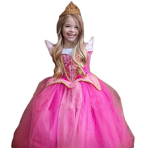 Принцесса Косплэй Kостюмы Детские Рождество День детей Новый год Фестиваль / праздник Полиэстер Инвентарь Розовый Мерцающая отделка Кружева