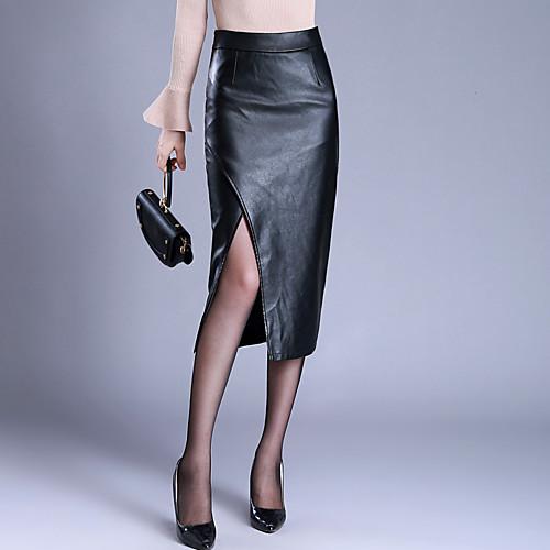 Жен. Большие размеры Полиуретановая Облегающий силуэт Подол Однотонный С разрезами С разрезами Зима Черный M L XL фото
