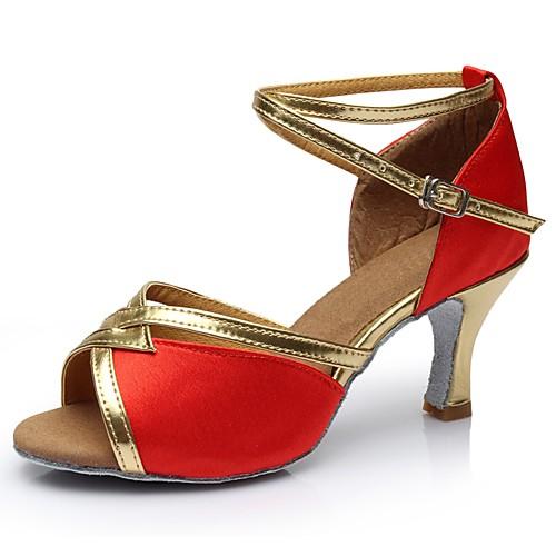 Жен. Шёлк Обувь для латины На каблуках Высокий каблук Персонализируемая Коричневый / Красный / Синий / В помещении / EU39