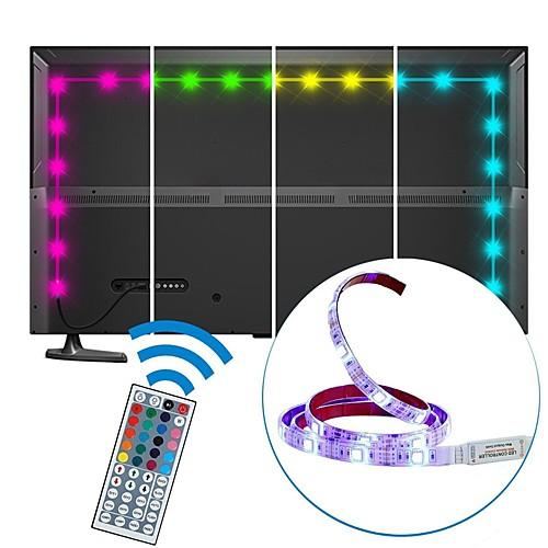 2 м usb светодиодные ленты водонепроницаемые smd5050 10 мм rgb светодиодные ленты гибкие светодиодные фонари 44 клавиши дистанционного фонового освещения телевизора dc5v фото