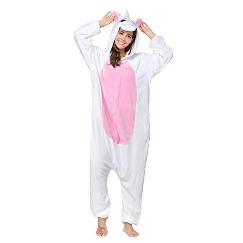 Кигуруми Пижамы Unicorn Костюм Комбинезон-пижама Пижамы Розовый Коралловый флис Косплей Для Взрослые Нижнее и ночное белье животных