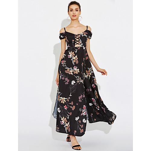 Для женщин На каждый день Простое С летящей юбкой Платье Цветочный принт,V-образный вырез Макси С короткими рукавами Полиэстер ЛетоСо