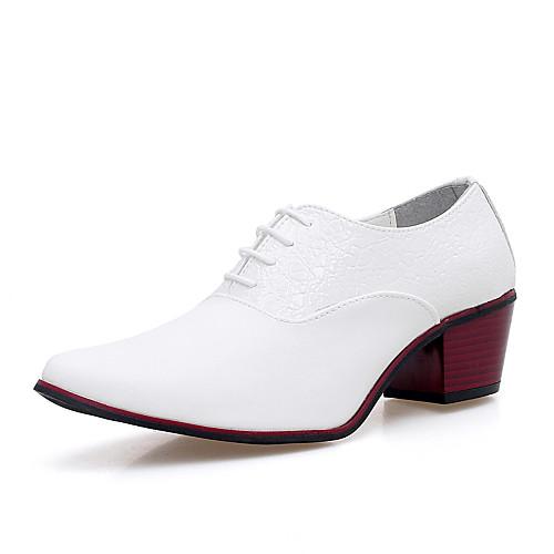 Муж. Обувь для новинок Микроволокно Осень Удобная обувь Туфли на шнуровке Белый / Черный / Для вечеринки / ужина