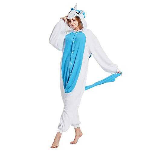 Взрослые Пижамы кигуруми Unicorn Животный принт Цельные пижамы Флис Синий Косплей Для Муж. и жен. Нижнее и ночное белье животных Мультфильм Фестиваль / праздник костюмы