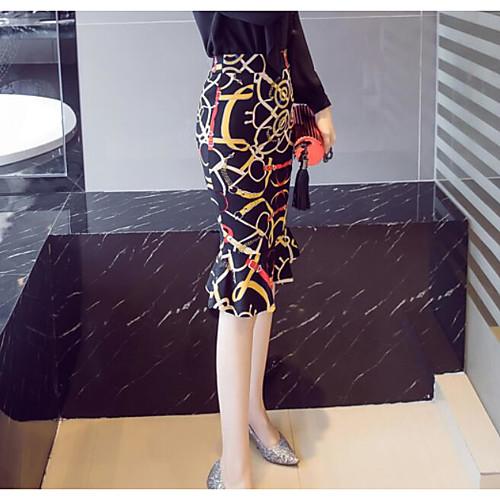 lightinthebox / Mujer Moderno Falda y Vestido / Corte Bodycon Faldas - Volante, Estampado Alta cintura