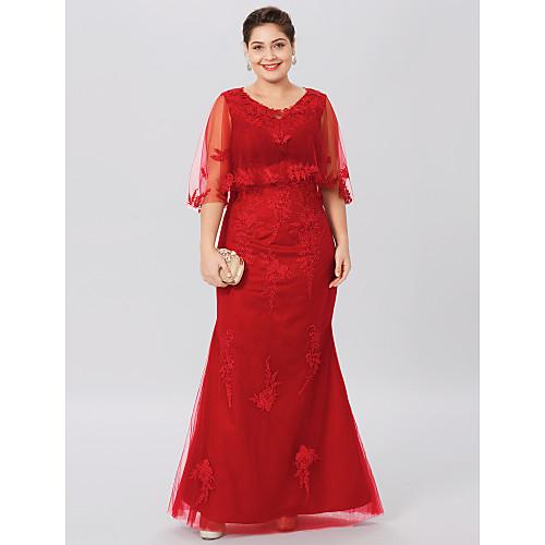 Футляр V-образный вырез В пол Кружево на подкладке из тюля Платье для матери невесты с Аппликации Перекрещивание от LAN TING BRIDE