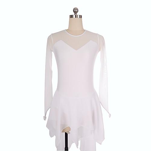 Платье для фигурного катания Жен. Девочки Катание на коньках Платья Белый Спандекс Неэластичная Учебный Соревнование Одежда для фигурного катания Однотонный Длинный рукав