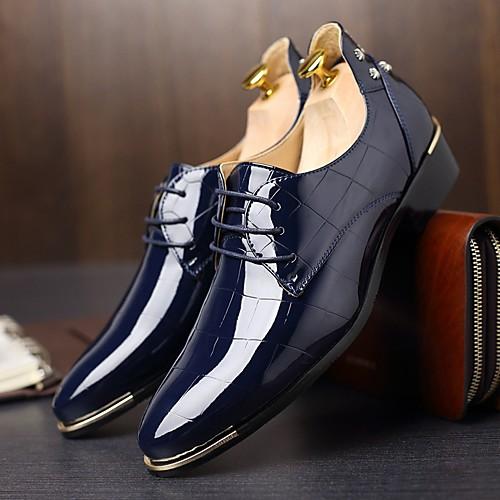 Муж. Оксфорд Весна / Осень Удобная обувь / Английский Туфли на шнуровке Черный / Морской синий / Красный / Для вечеринки / ужина