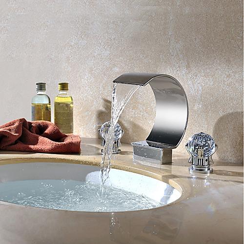 Ванная раковина кран - Водопад Хром Разбросанная Две ручки три отверстияBath Taps / Латунь