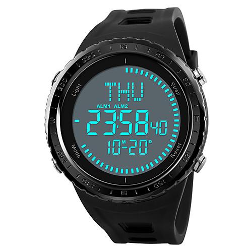 SKMEI Муж. Спортивные часы Армейские часы электронные часы Японский Цифровой Стеганная ПУ кожа Черный / Зеленый / Серый 50 m Защита от влаги Будильник Секундомер Цифровой На каждый день - / Один год фото