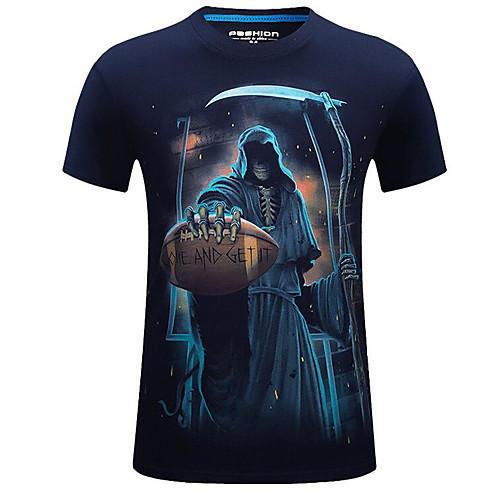 lightinthebox / Homens Camiseta Moda de Rua Estampado, Caveiras Decote Redondo Preto / Manga Curta / Verão