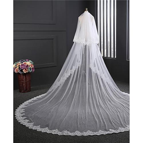 Два слоя Двухслойные зонты Свадебные вуали Фата для венчания с Вышивка Тюль / Классическая