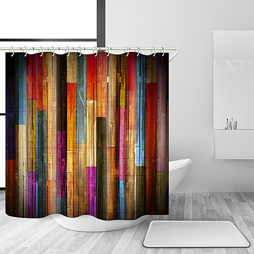 Занавески для душа с крючками красочные деревянные деревянные художественные доски деревенский ретро деревянные старинные занавески для душа водонепроницаемый для ванной фото