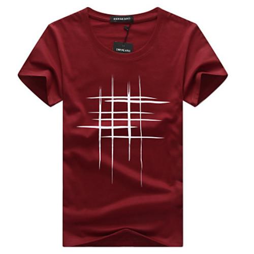 lightinthebox / Homens Tamanhos Grandes Camiseta Activo / Básico Gráfico Algodão Decote Redondo Delgado Cinzento / Manga Curta / Primavera / Verão