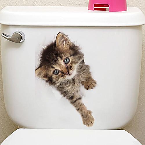 Наклейки на холодильник Наклейки для туалета - Наклейки для животных Животные 3D Гостиная Спальня Ванная комната Кухня Столовая Кабинет / фото