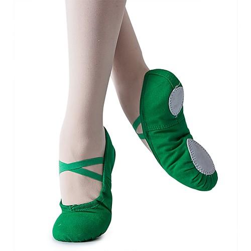 Девочки Танцевальная обувь Полотно Обувь для балета На плоской подошве На плоской подошве Персонализируемая Темно-зеленый / Красный / В помещении / Тренировочные фото