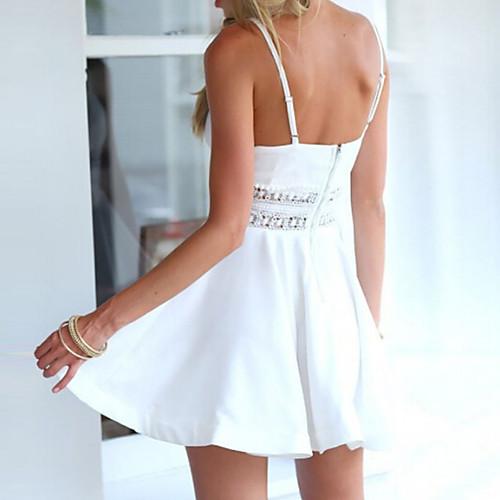 lightinthebox / Mulheres Feriado Boho Moda de Rua Delgado Vestido - Estampado, Côr Sólida Decote V Com Alças Mini Acima do Joelho Branco / Sexy