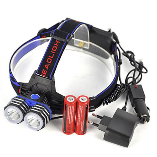 Налобные фонари 5000 lm LED 2 излучатели 1 Режим освещения с батарейками и зарядным устройством Для профессионалов Водонепроницаемый Легкость / 4 (сильн.>слаб. > строб> SOS) фото