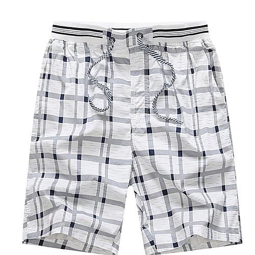 lightinthebox / Hombre Básico Tallas Grandes Diario Shorts Pantalones - Cuadrícula Otoño Amarillo Naranja Blanco L XL XXL